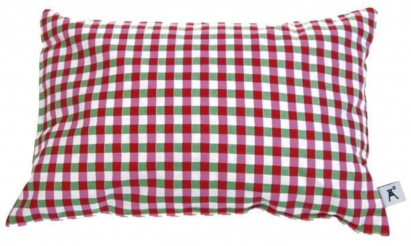 Zirbenkissen aus Baumwolle 30 x 20 cm Grün Rot Weiss kariert