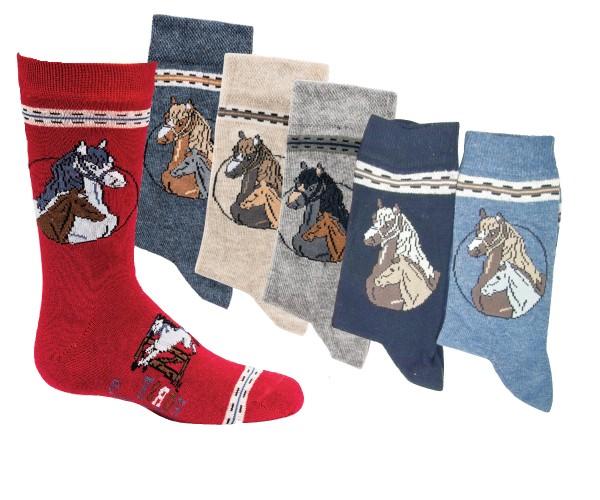 6 Paar Kinder Socken für Jungen und Mädchen handgekettelt Spitze besonders weicher Baumwolle Pferde