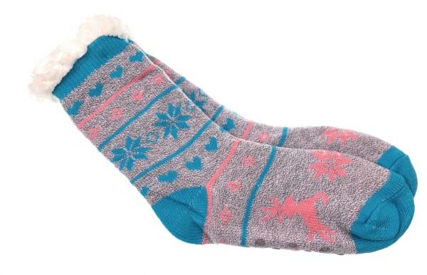 Damen Hütten Socken Home Socks mit Teddyfutter Kuschelsocken Lammfellimitat und ABS Stopper Sohle