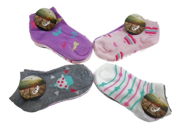 12 Paar Kids Mädchen Sneaker Kinder Socken 95% Baumwolle Bunter Mix