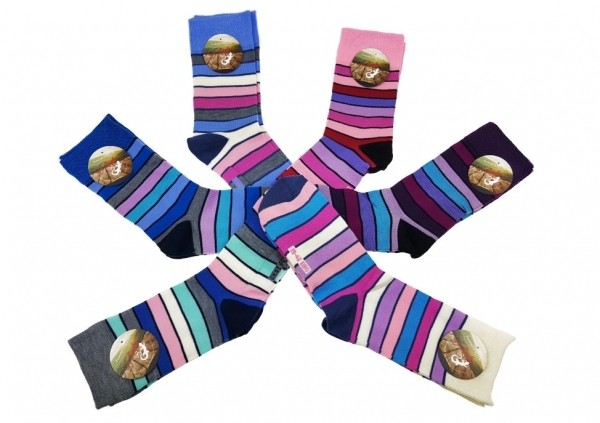 Damensocken aus Baumwolle Ringelsocken