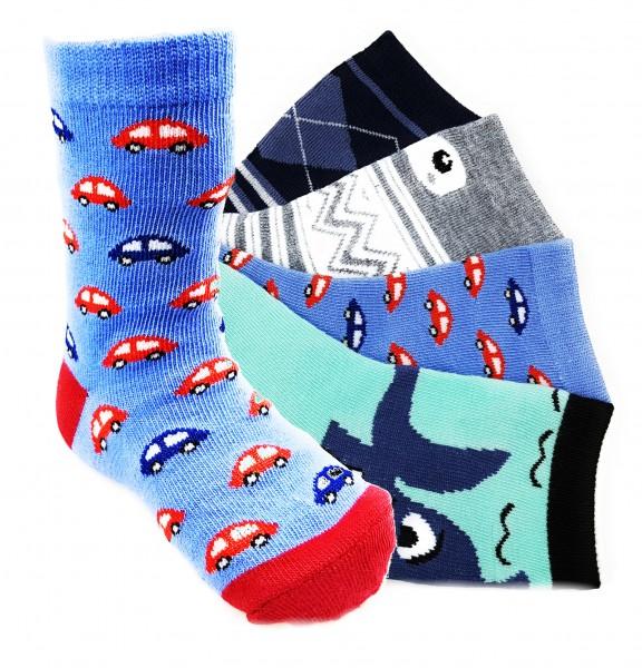 12 Paar Jungen Socken Kinder Strümpfe 90% Baumwolle Bunter Mix