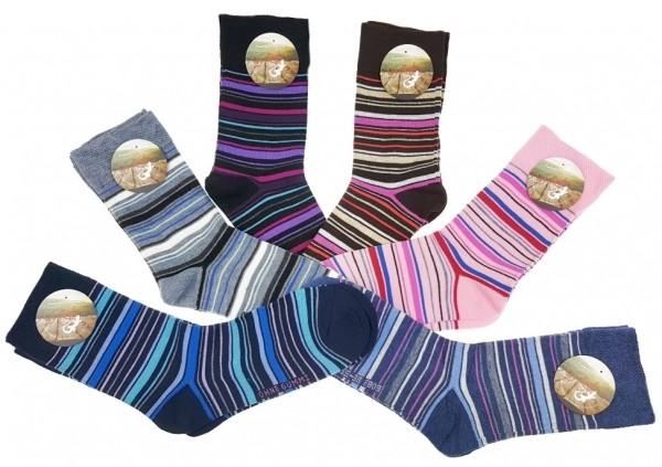 Damen Socken mit feinen bunten Streifen