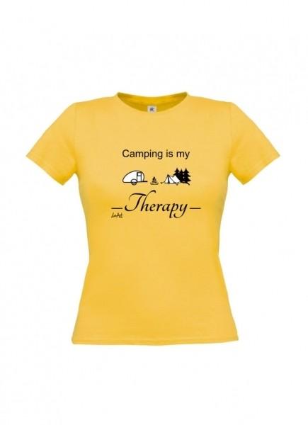 Damen T-Shirt - Camping Therapie 100% Baumwolle von LiveArt gold gelb